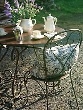 FRENCH GARDEN SET BISTRO TABLE +4 CHAIRS WROUGHT IRON OUTDOOR antique brown NEW