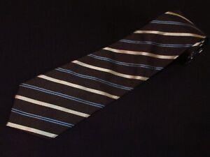 New Banana Republic Tie Dark Brown Gold Stripe Luxury Designer Necktie Silk Mens