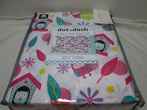 Dot & Dash OLIVIA OWL & Flower Twin Sheet Set ~ Hot Pink, Yellow, Teal, Purple