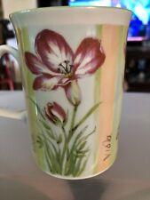 Rose Of England Floral Mugs Set Of2  Fine Bone China  Pastel  Striped Green Trim