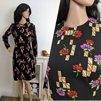 Vintage 70s Black Floral Geo Poppy Shift Dress Boho 8 10 36