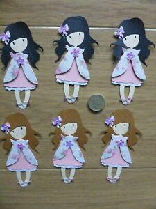 6 very sweet assorted little girl handmade card toppers, birthday mum Grandma #3