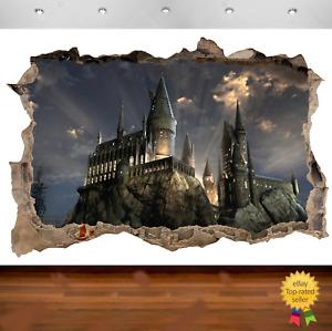 Harry Potter Hogwarts Castle 3d Smashed Wall View Sticker Art Poster Vinyl  680