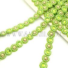 LIME GREEN RHINESTONE SEQUIN beads TRIM Rhinestone trimming,edging,EMBELLISHMENT