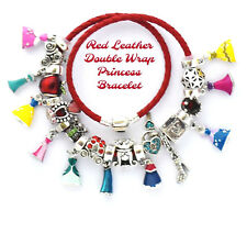 Disney Charm Bracelet Princess Dresses Red Leather Double European Charms NIB
