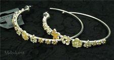 Vintage Pilgrim Hoop Earrings Enchanted Flower Silver Yellow Swarovski