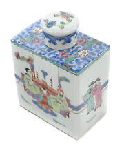 Chinese Antique Painted Quing Porcelain Square Bottle