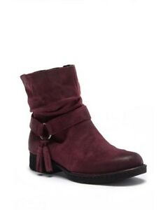 WOMENS BORN CORY BOOTS BURGUNDY SUEDE ANKLE SIZE 6.5 NIB!