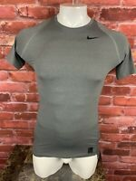 Nike Pro Dri Fit Compression Short Sleeve Fitted Gray Shirt Mens Large -F34