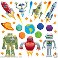 Space Rocket Ship Stars Planets Nursery Wall Stickers Kids Vinyl Wall Decals R5