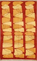 New Modern Vegetable Dye Red/Gold 4'x6' Oriental Area Rug Hand-Knotted Carpet