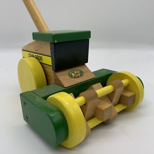 John Deere Combine Toy Tractor (popper Like) Wooden Made By Ertl Toddlers Baby
