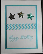 Handcrafted Birthday Card, Holographic Stars Washi Tape Turquoise Handmade