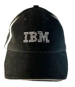 RARE VINTAGE BLACK COTTON IBM LOGO EMBLEM PROMO BASEBALL CAP HAT