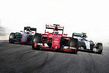 Framed Print - F1 Race Cars on the Track (Formula 1 Picture Ferrari Mercedes)