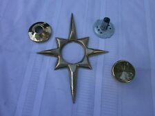 Mid Century Modern Atomic Starburst Brass Door Knobs Escutcheon Eames Era Sputik