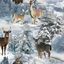 Deer in Snowy Pine Trees from Elizabeth's Studio Cotton Quilt Fabric 212 White