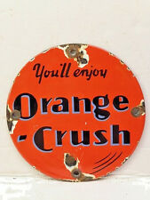 "Vintage Round 5"" Porcelain Orange Crush Soda Door Push Pull Enamel Metal Sign"
