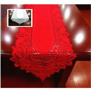 White Red Lace Table Runner 33x180cm Polyester Wedding Tassels Flower Tablecloth