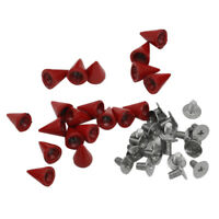 20pcs 10mm Red Spots Cone Screw Metal Studs Leathercraft Rivet Bullet Spikes