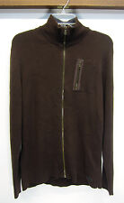 vtg Guess Sweater Brown Cardigan cotton/acrylic full zip sz XL