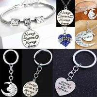 Gifts For Sister Necklace Bangle Bracelet Keychain Keyring Women Jewelry Charm