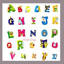 ABC Alphabet Letters Animals Children's Wall Stickers Huge 50cm x 70cm sheet