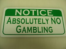 Vintage ABSOLUTELY NO GAMBLING Metal Sign Golf Club NEW Pool Hall Bar Room Poker