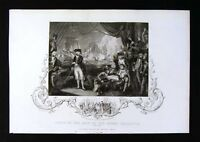 1852 Engraved Tallis Print - Howe on Deck of the Queen Charlotte June 1st, 1794
