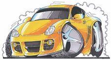 Porsche Cayman Printed Koolart Cartoon T Shirt 1912 Yellow Red Blue Silver
