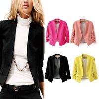 New Women Slim No Button Short Blazer Suit Jacket Coat 3/4 Sleeve Lady Outwear