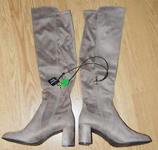 LIZ taupe beige faux suede OTK over the knee block heel BOOT 12 W NEW LAYLA $109
