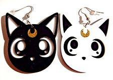 SAILOR MOON EARRINGS Luna & Artemis kawaii kitty cat faces anime manga kitsch 6F