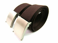 "Mens Womens BUY ONE GET ONE FREE Brown Canvas belt Size 38"" or 50"""