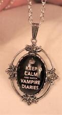 Keep Calm & Watch Vampire Diaries Cameo Leafy Rim Silvertone Cameo Necklace