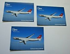 NORTHWEST AIRLINES POSTCARDS A330-300 AIRPLANE (3 Items) 2003  DELTA