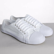 WHITE OR BLACK LACE UP CANVAS PLIMSOLES MENS WOMENS PLIMSOLLS PUMPS BRAND NEW