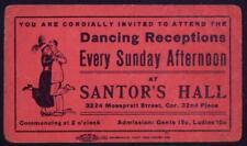 1920's Santor's Hall Dance Ticket Flapper couple dancing Charleston ChicagoB4S2