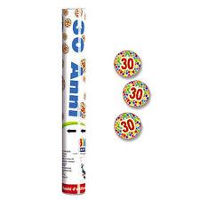 SPARACORIANDOLI 30 ANNI - Addobbi festa 30° Compleanno, tubo coriandoli 30 cm
