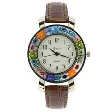 With Leather Band - Brown GlassOfVenice Serena Murano Millefiori Watch