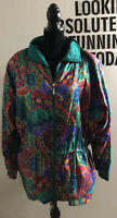 LAVON Vintage 80s Teal Aqua Floral Windbreaker Tracksuit Jacket SZ L