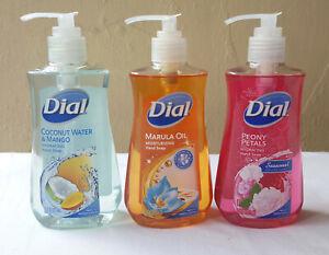 3 pack DIAL LIQUID HAND SOAP Marula Oil  Peony Petals Coconut w Mango 7.5 OZ