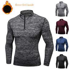 Men's Thermal Zip Mock Shirt Workout Running Riding Warm Under Base Layer Top