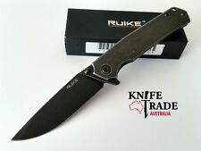 Ruike P801-SB Black Flipper Folding Pocket Knife SS/Handle Sandvik14C28N Blade