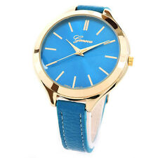 Aqua Gold Slim Design Narrow Band Large Face Fashion Women's Strap Geneva Watch