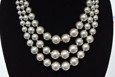 Charter Club Imitation Pearl Three-Row Collar Necklace Gray