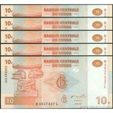 TWN - CONGO DEM. REP. 93a - 10 Francs 30/6/2003 UNC H-L (G&D) DEALERS x 5