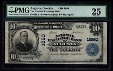 1902 $10 National Exchange Bank of Augusta Georgia PMG 25 Fr.628 Charter CH#1860