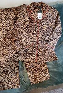 NWT Lauren Ralph Lauren Cotton Pajama 2 Pc Gift Set Leopard Monogramed PL