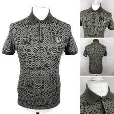 "FRED PERRY Camo Print Polo Shirt Size 36"" Mens Short Sleeve Top Khaki Green"